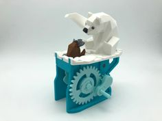 Polar Bear with Seal (automata) by amaochan - Thingiverse Useful 3d Prints, Plush Pattern, Puppet, Polar Bear, 3d Printer, Origami, Seal, Crafts For Kids, Printing