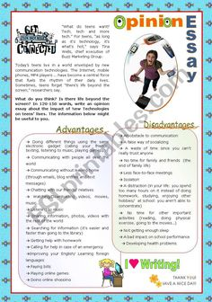 """""""Teens and New technologies"""" - Writing an Opinion Essay (Upper Intermediate/ Lower Advanced students) - ESL worksheet by Essay Writing Skills, Writing Topics, English Writing Skills, Writing Worksheets, Academic Writing, English Lessons, Writing Activities, Opinion Essay, Opinion Writing"""