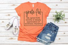 This item is unavailable Teaching Shirts, Autumn T Shirts, Baby Monogram, Grateful, Thankful, Bella Canvas, Shirt Style, Colorful Shirts, Tee Shirts