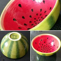 Diy pottery, Painted Watermelon bowl, paint your style