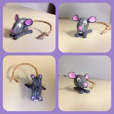 Rock Art- mouse made with a rock, acrylic paints, hot glue, polymer clay, & paper bag handle for the tail. Pretty cute!
