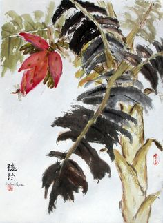 (usa) Dragonfly on Banana by Darlene Kaplan. oriental brush painting.