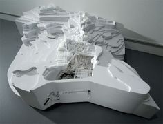 Civic Mountain Build, 2008, acrylic and plywood, 10 ½ x 47 x 30 inches, Becky Alprin