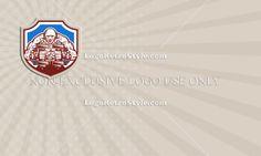 Strongman Lifting Dumbbells Shield Retro Business card Logo-Illustration