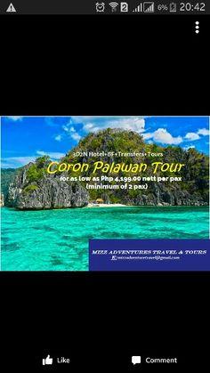 Explore Coron. More details here www.facebook.com/mizzadventurestravel Palawan Tour, Coron, Tours, Explore, Facebook, Travel, Viajes, Destinations, Traveling