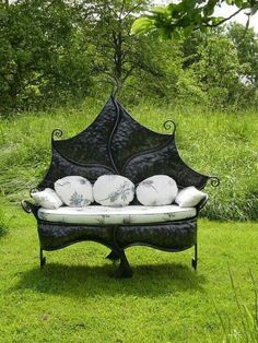 Giant Dark Leaf Shaped Outdoor Couches