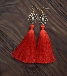 Coral Silk Long Tassel Earrings with Crystal Beads Fashion Fringe Earrings
