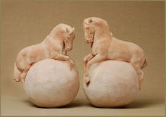 """Rolling around haplessly. Most fall off and get squished by others who balanced longer. """"Horse Spheres"""" by Susan Leyland. A playful variation on her usual blocks. Horse Sculpture, Sculpture Clay, Animal Sculptures, Modern Art Sculpture, Pottery Sculpture, Ceramic Animals, Equine Art, Horse Art, Acrylic Art"""