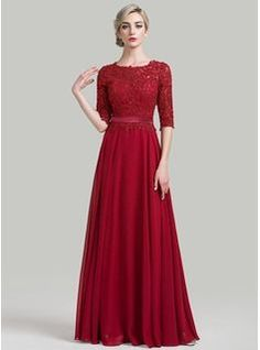 A-Line/Princess Scoop Neck Floor-Length Beading Sequins Zipper Up Sleeves 1/2 Sleeves No 2016 Burgundy General Plus Mother of the Bride Dress