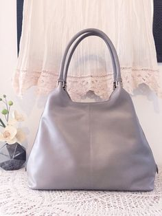 Taupe tote, Elegant taupe leather handbag, Women purse, Soft leather bag, Women gift, Spring bag, Satchel tote, Sac, Tasche