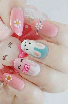 : Gorgeous Pastel Pink 2015 easter Nail Designs, 2015 easter Bunny Nails, Holiday Nail Art for Girls