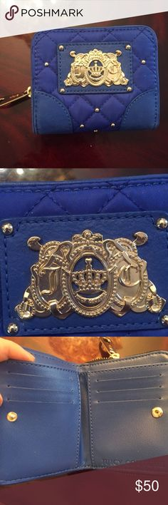 Juicy Couture Retired Blue Wallet Juicy Couture Retired Blue Wallet with Gold Detailing. Used twice. Perfect condition and beautiful wallet! No longer available in stores or online. Perfect wallet! Juicy Couture Bags Wallets