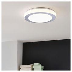 LED Deckenleuchte Inkl. Leuchtmittel, Warmweiß, IP44, Weiß, Chrom, 385mm