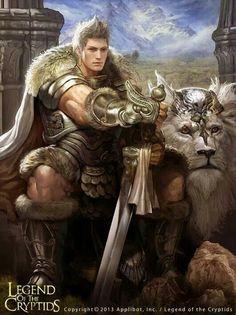 Men lion knight white