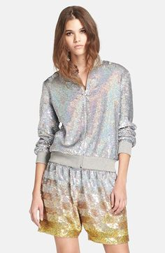 Ashish Sequin Bomber Jacket available at Silver Bomber Jacket, New Yorker Mode, Nordstrom, Fashion Beauty, Womens Fashion, Rib Knit, Style Me, Sequins, Tunic Tops