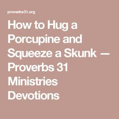 How to Hug a Porcupine and Squeeze a Skunk — Proverbs 31 Ministries Devotions