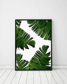 Green Banana Leaves Green Tropical Printable Banana Leaves