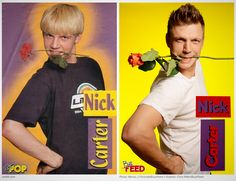 OMG. Check out Nick Carter recreating his old boy band posters.