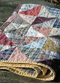 "...quilt from old ""worn - in"" shirts... Lovely."