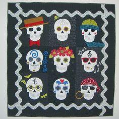 Day of the Dead Sugar Skulls Quilt Pattern CLS-112 (intermediate ... : sugar skull quilt pattern - Adamdwight.com