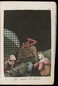 "Las rinde el sueño. (Sleep overcomes them); Plate 34 bound into ""Los Caprichos"" 