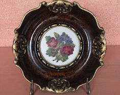 Your place to buy and sell all things handmade Vintage Ideas, Pansies, Green And Brown, Hand Stitching, Needlepoint, Decorative Plates, Roses, Wall Decor, Buy And Sell