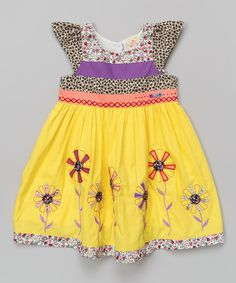 Yellow & Purple Floral Cap-Sleeve Dress - Infant, Toddler & Girls by the Silly Sissy #zulily #zulilyfinds