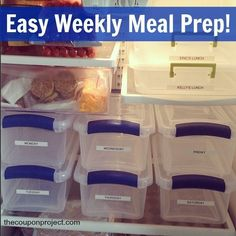How to prep a weeks worth of meals. Stay on track with your plan, your budget, and your diet! :). Might be good to add the recipe if there is room so whoever gets home first can get started on dinner and no one has to wait for the one person who knows how to make whatever is for dinner!