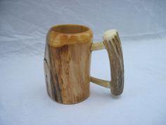 Wooden Beer Mug, Wood Mug, Tent Pegs, Antlers, Woodworking, Mugs, Glasses, Tableware, Eat