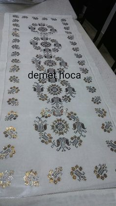"Tel kırma ""It is a good Cross-Stitch towel example with bright gray."", ""This post was discovered by Nil"" Cross Stitching, Cross Stitch Embroidery, Hand Embroidery, Cross Stitch Patterns, Embroidery Designs, Crochet Table Runner, Weaving Patterns, Bargello, Needlework"