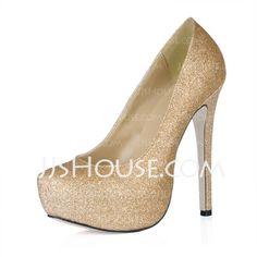 Wedding Shoes - $77.99 - Sparkling Glitter Stiletto Heel Closed Toe Platform Pumps Wedding Shoes (085016463) http://jjshouse.com/Sparkling-Glitter-Stiletto-Heel-Closed-Toe-Platform-Pumps-Wedding-Shoes-085016463-g16463