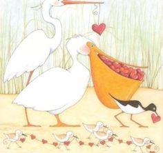 Pelicans and hearts