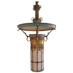 Neo-Gothic Lantern with Art Deco Flare | From a unique collection of antique and modern chandeliers and pendants  at http://www.1stdibs.com/furniture/lighting/chandeliers-pendant-lights/