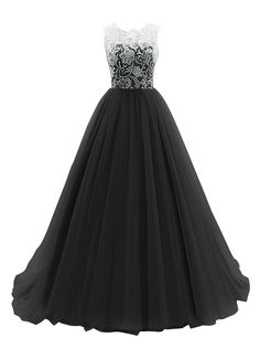 Dresstells® Long Prom Dress Tulle Evening Dance Bridesmadi Gown with Lace ** You can get more details here : black dress