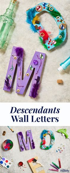 Create a Descendants 2 viewing party with all the wicked charm. To match the spunky personality of new character Dizzy, these DIY Wall Letters are painted and glued with her favorite things: gems, feathers, and sequins — all the works! Click for more inspiration for your next Disney party. Summer Camp Crafts, Camping Crafts, Summer Fun, Kids Party Snacks, Birthday Painting, First Birthday Decorations, Nye Party, 8th Birthday, Birthday Ideas