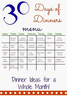 30 days of dinners another month of meal planning