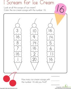 Worksheets: Coloring 16: I Scream for Ice Cream!