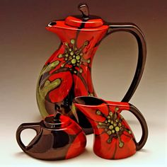 Bold Floral Tea Set – Red Poppy Funky Tea Pot, Cream & Sugar