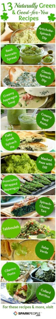 Healthy GREEN St. Patrick's Day Recipes (no food coloring required)   via @SparkPeople #diet #nutrition #food by KaleighS