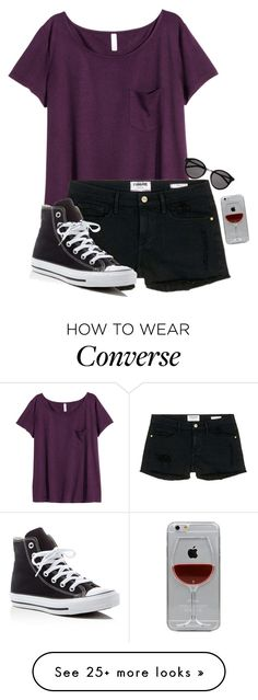 """Untitled #892"" by xlostgirl18 on Polyvore featuring H&M, Frame Denim, Yves Saint Laurent, Converse and Reyes"