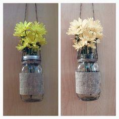Hanging mason lantern Large Ball mason jar Twine harness; 15 inch Fray glued Double sided burlap- Outside: brown burlap Inside: Camo burlap *Lids