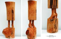 Entre raíces Madera de Abedul con policromia. 56 x 21 x 12 cm