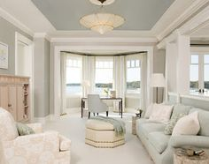 Tray ceiling paint- Benjamin Moore revere pewter on walls and Gull Wing Gray on ceiling