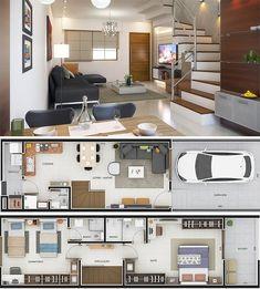 Foto do Instagram de Plantas Baixas • 17 de janeiro de 2019 às 17:53 House Floor Plans, Tiny House, Kitchen Cabinets, Flooring, How To Plan, Architecture, Instagram Posts, Table, Furniture