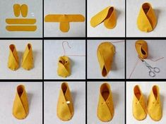 How To Make Moccasins For Dolls Making moccasins for dolls (or bears, or even children) might be a good project when studying Native Americans. Fabric Crafts, Sewing Crafts, Sewing Projects, Craft Projects, Diy Crafts, How To Make Moccasins, How To Make Shoes, Baby Booties, Baby Shoes
