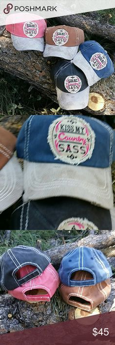 "🆕""Kiss My Country Sass"" Cap I am rocking one of these babies!! Vintage look distressed, faux leather bill.  Embroidered patch on the front giving people directions ""Kiss My Country Sass"". Velcro adjustable back.  Available in your choice of Pink, Blue, Black or Tan. Boutique  Accessories Hats"