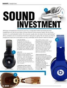 This layout is great because the headphones aren't overpowering, different fonts are used to retain the reader's attention, and the paragraph placement is just perfect!