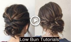 How To Style Cute Low Messy Bun Updo Hairstyles - Hairstyles For All Messy Bun For Short Hair, Cute Messy Buns, Chignon Bun, Messy Bun With Braid, Low Updo, Messy Updo, Bun Bun, Messy Wedding Updo, Hair Wedding