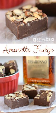 Amaretto Fudge - perfect for your sweetheart! A rich easy-to-make chocolate fudge infused with the almond flavored amaretto. The perfect adult sweet! Fudge Recipes, Candy Recipes, Sweet Recipes, Dessert Recipes, Lunch Recipes, Drink Recipes, Pasta Recipes, Crockpot Recipes, Easy Chocolate Fudge