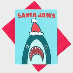 Funny Christmas Card - Santa Jaws - Funny Holiday Card - Shark Christmas Card - Xmas Pun - Funny Christmas Pun - Holiday Pun Card -  Funny                                                                                                                                                                                 More